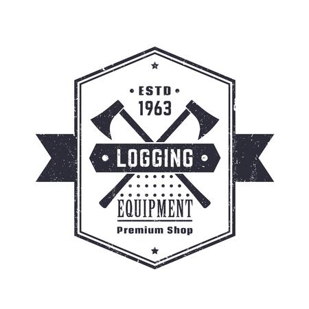 logging: Logging equipment, lumber shop vintage logo, emblem, sign with lumberjacks axes over white, vector illustration