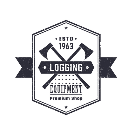 lumber: Logging equipment, lumber shop vintage logo, emblem, sign with lumberjacks axes over white, vector illustration