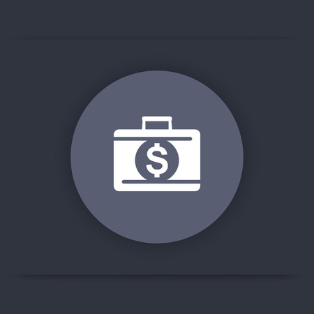 finance icon: deposit icon, banking, loan, investments, suitcase with money round flat icon, vector illustration Illustration