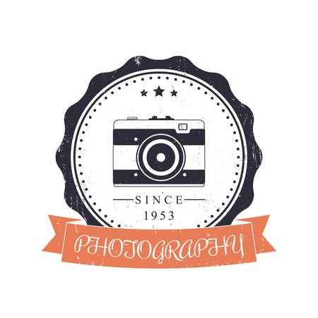 over white: photography, photographer vintage logo, emblem, sign with retro camera over white, vector illustration