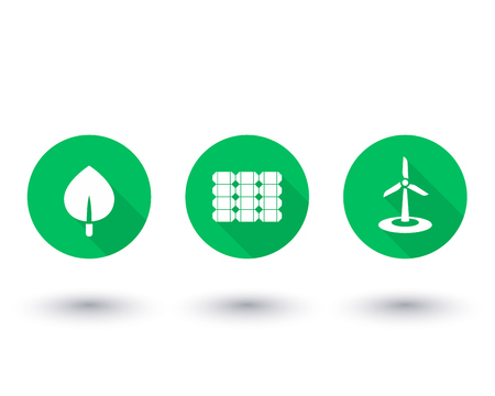 biofuel: Solar, wind energetics, biofuel, alternative energy solutions, green icons on white, vector illustration Illustration