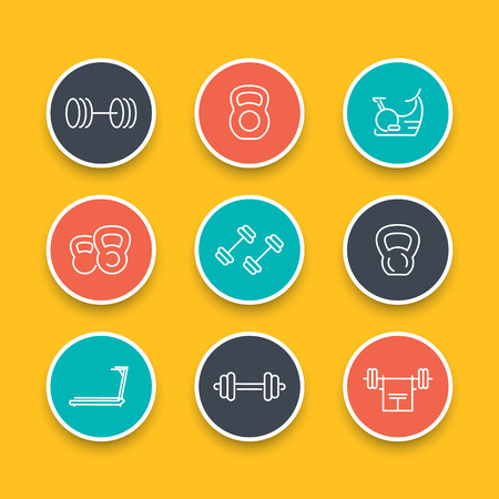crossbar: Gym equipment line icons, training, fitness, exercise round icons set, vector illustration