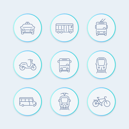 trolleybus: City transport line icons, tram, train, bus, bike, taxi, trolleybus stylish round icons, vector illustration Illustration