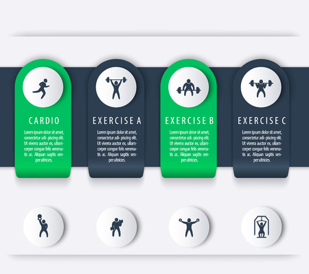 squat: Gym training, workout, 4 steps, infographics elements, with fitness exercise icons, vector illustration