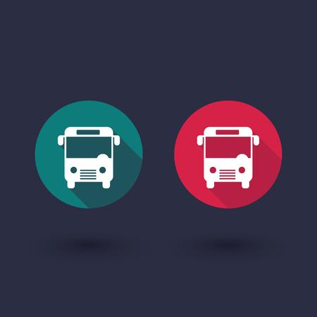 city icon: Bus flat icon, city public transport, bus tours, vector illustration Illustration