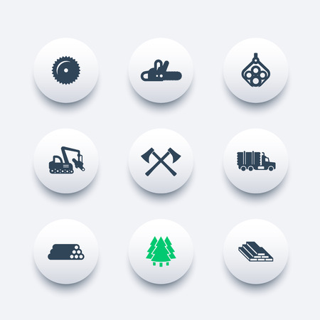 logging: Logging icons, forestry equipment, sawmill, logging truck, tree harvester, timber, wood, lumber round modern icons, vector illustration