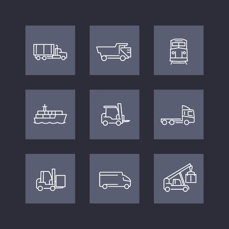 lading: Transportation line icons, square set, vector illustration Illustration