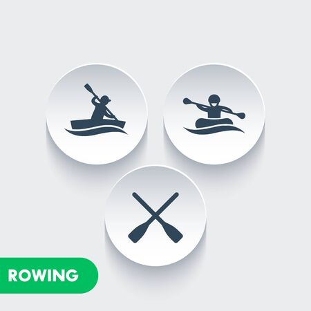 oars: Rowing icons, kayaking, rafting, canoe, rower, oars icons on round 3d shapes, vector illustration Illustration