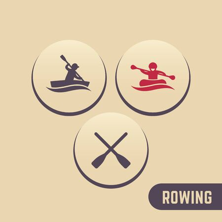 oars: Rowing icons, kayaking, rafting, canoe, oars round icons, vector illustration