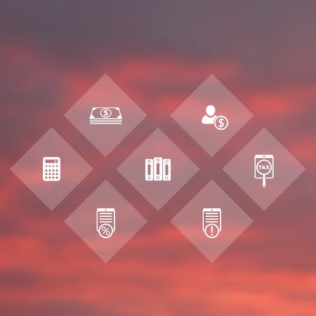 Buchhaltung, Finanzen, Lohn rhombischen transparente Icons, Vektor-Illustration
