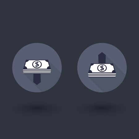 decline: Money upload, withdrawal, income growth, decline round flat icons, vector illustration