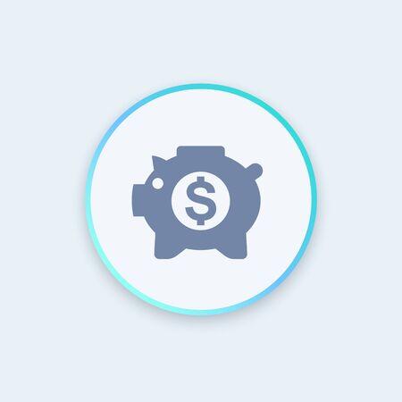 money box: moneybox icon, money box pig, piggy bank, income, savings round stylish icon, vector illustration