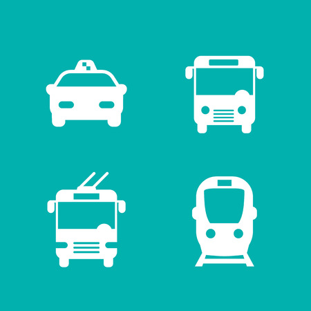 streetcar: City transport isolated icons, vector illustration