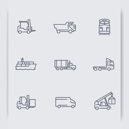 ciężarówka: Transport ikony cienkich linii, Wózek widłowy, statek towarowy, pociąg Transport ciężarowy, Transport, ilustracji wektorowych Ilustracja