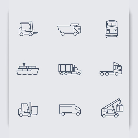 front loading: Transportation thin line icons, Forklift, Cargo ship, Freight train, Cargo truck, vector illustration