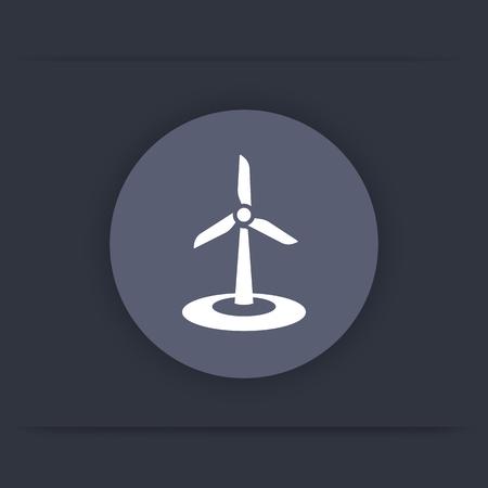 energetics: wind energetics, wind farm round flat icon, vector illustration