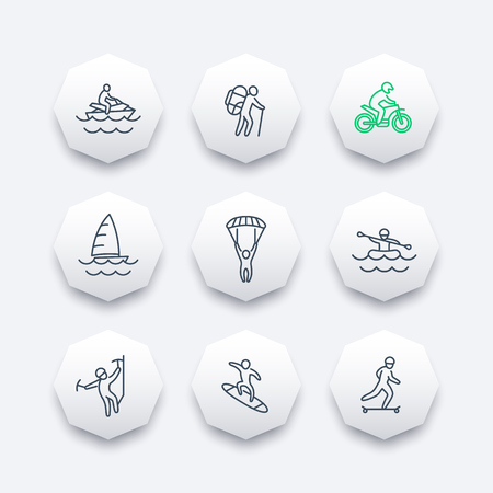 parachutist: extreme outdoor activities line octagon icons, vector illustration