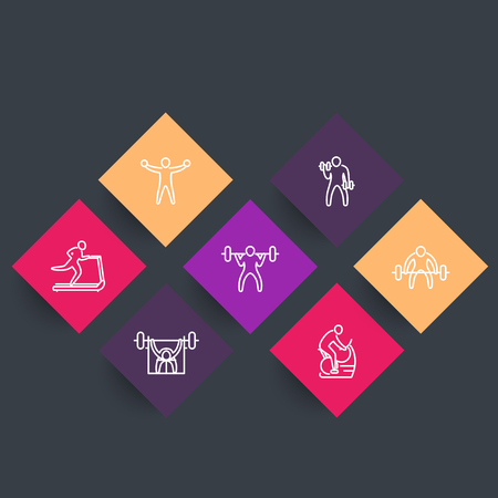 Gym, fitness exercises, training, line icons, rhombic set, vector illustration