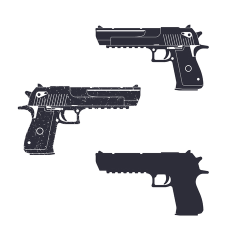 pistolas: poderosa pistola, pistola de silueta, ilustración pistola, arma de mano, ilustración vectorial
