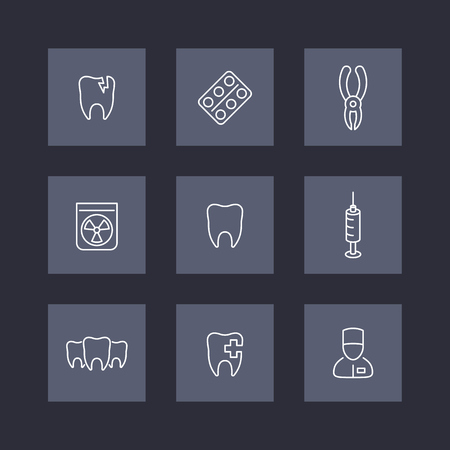 toothcare: Tooth, dental care, stomatologist, toothcare, stomatology, line icons on squares, vector illustration Illustration