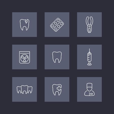 stomatologist: Tooth, dental care, stomatologist, toothcare, stomatology, line icons on squares, vector illustration Illustration