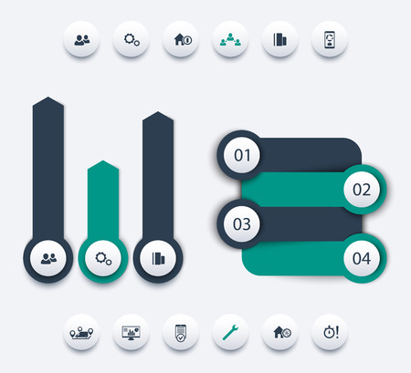 report icon: business analytics infographic elements, timeline, step labels, 1 2 3 4, growth arrows, round icons, vector illustration