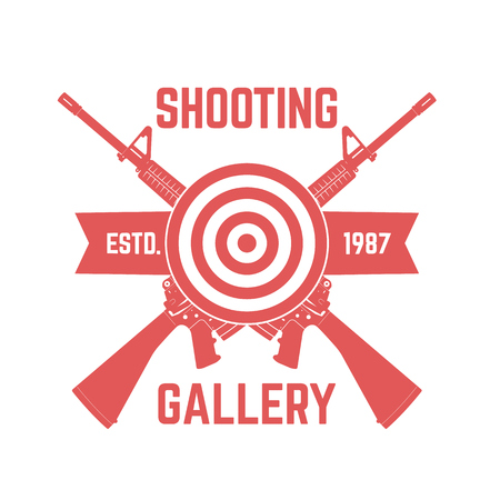 assault: Shooting Gallery logo with crossed assault rifles isolated over white, vector illustration Illustration