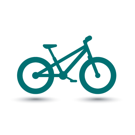 over white: Fat bike icon, isolated over white, vector illustration