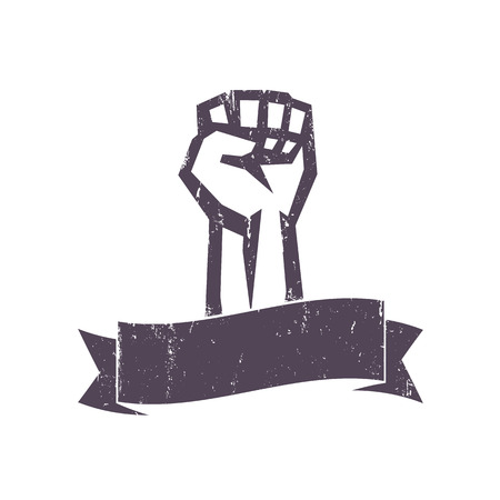 revolt: fist held high in protest with ribbon, grunge design template, vector illustration