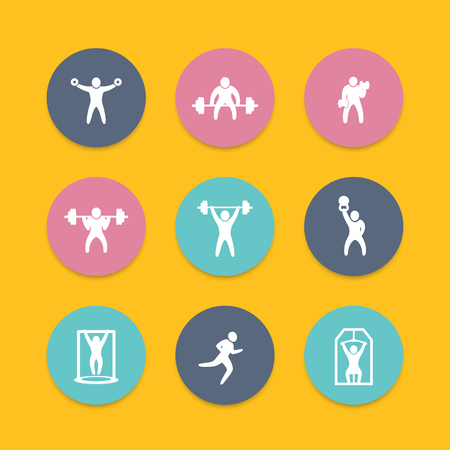 strong chin: Gym, fitness exercises, training, round icons set, vector illustration Illustration