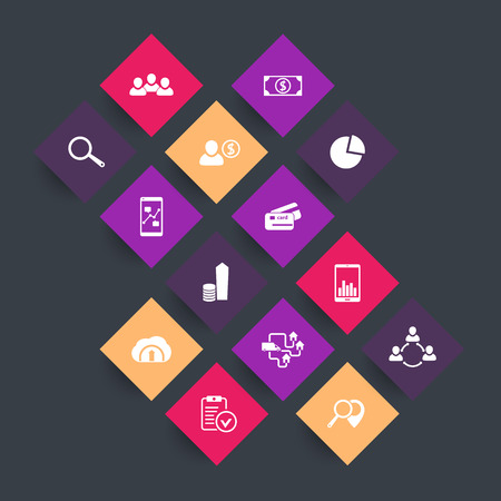 rhombic: 14 business, commerce, finance color icons on square shapes, vector illustration