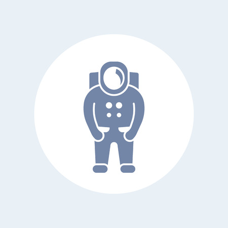 space suit: Astronaut icon, spaceman, space suit isolated icon, vector illustration