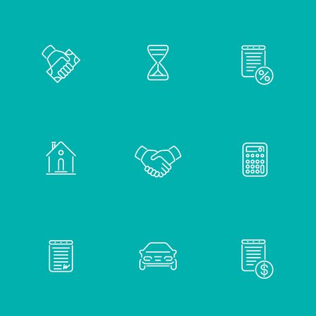 handgrip: Leasing, loan, deal line icons, isolated set, vector illustration Illustration