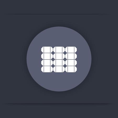 energetics: Solar energetics, solar panel round flat icon, vector illustration