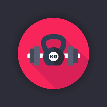 kettlebell: fitness, workout flat icon, barbell and kettlebell, vector illustration