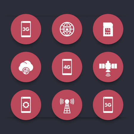 wireless communication: wireless technology round red icons, mobile communication, connection signs, 4g, 5g mobile internet icon, vector illustration Illustration