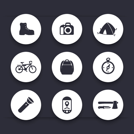 hatchet: Hiking, camping icons, backpack, flashlight, tent, compass, hatchet round icons, vector illustration