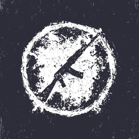 gun control: grunge emblem with automatic rifle, t-shirt print with gun, vector illustration