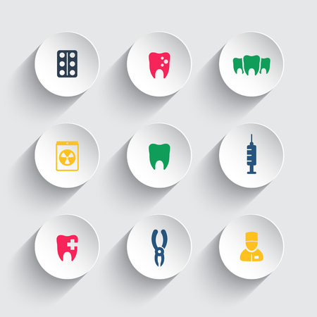 toothcare: Teeth color icons on round 3d shapes, dental care, tooth cavity, toothcare, stomatology, tooth icon, vector illustration