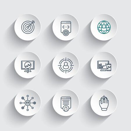 indexing: seo line icons on round 3d shapes, search engine optimization, internet marketing, website indexing, seo tools, vector illustration Illustration