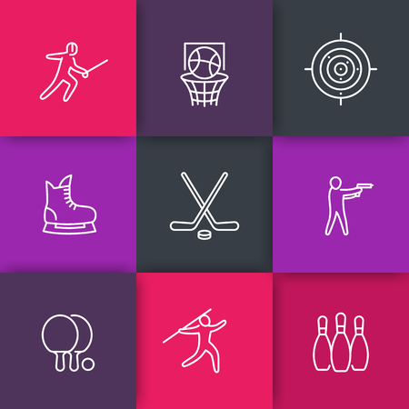 skating on thin ice: sports, games, team sport line icons, hockey, ping pong, basketball, fencing, bowling icons