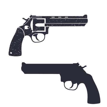 handgun: modern revolver, handgun, classic gun, revolver silhouette, gun isolated over white, vector illustration