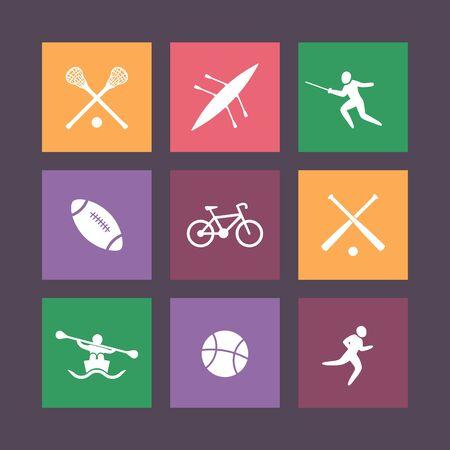 crosse: College sports square color icons, vector illustration Illustration