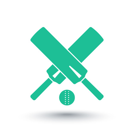 bat: Cricket icon, isolated over white, crossed cricket bats and ball, vector illustration