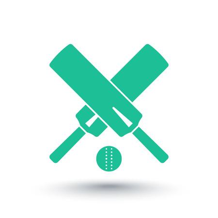 bate: icono de cricket, aislado más de blanco, cruzó bates de cricket y la pelota, ilustración vectorial Vectores