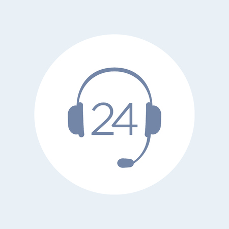 customer support: headphone, headset icon, call technical support, contact us, helpline, 24 support service isolated icon, vector illustration Illustration