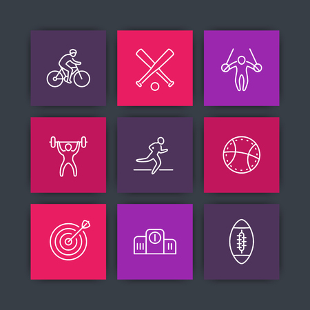 steady: different kind of sports line icons on squares, vector illustration