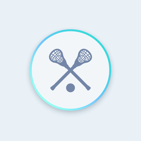 lacrosse: Lacrosse icon, sign, crossed crosses, lacrosse sticks and ball round icon, vector illustration