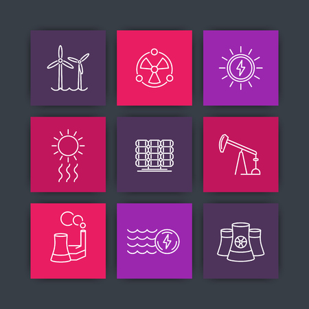 energetics: Power, energetics, energy production, nuclear energetics line square icons, vector illustration