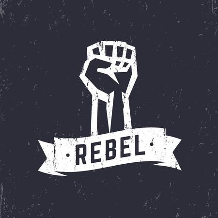 boycott: Rebel, grunge t-shirt design, print, fist held high in protest, white over dark, vector illustration